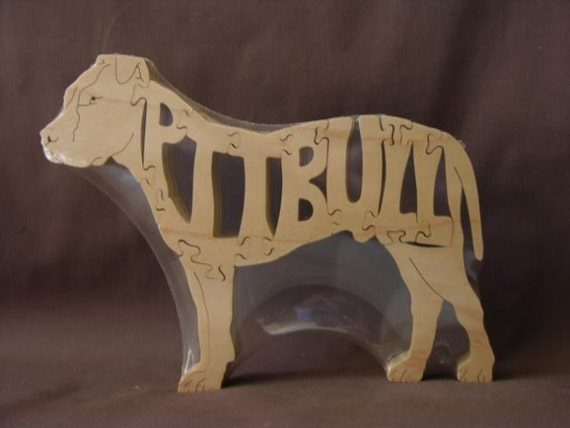 Pit Bull Dog Puzzle Wooden Toy Hand Cut with Scroll Saw Pitbull