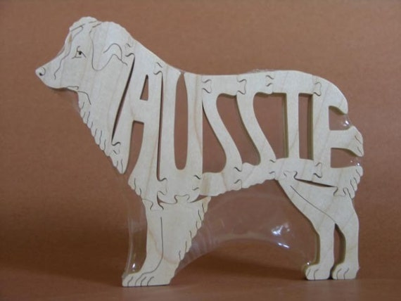 Australian Shepherd Dog Puzzle Wooden Toy Hand Cut with Scroll Saw