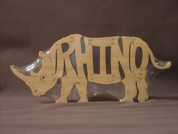 Rhino Rhinoceros Animal Puzzle Wooden Toy Hand Cut With