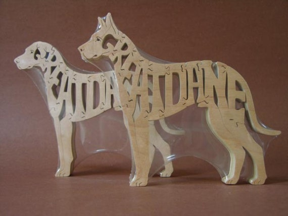 Great Dane Dog Animal Puzzle Wooden Toy Hand  Cut with Scroll Saw