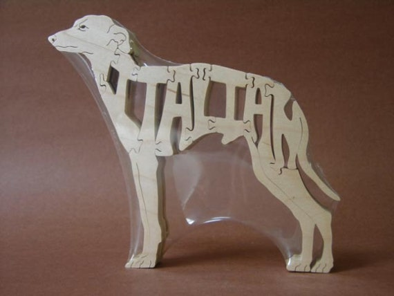 Italian Greyhound Dog  Wooden Animal Puzzle Toy Hand Cut with Scroll Saw