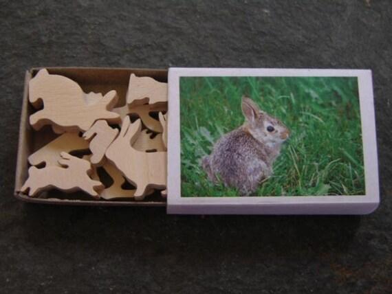 Miniature  Bunny Rabbit Wood Match Box Set