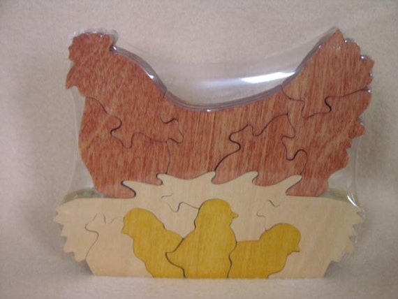 Hen & Chicks Puzzle Center Piece or Toy Wooden Hand Cut