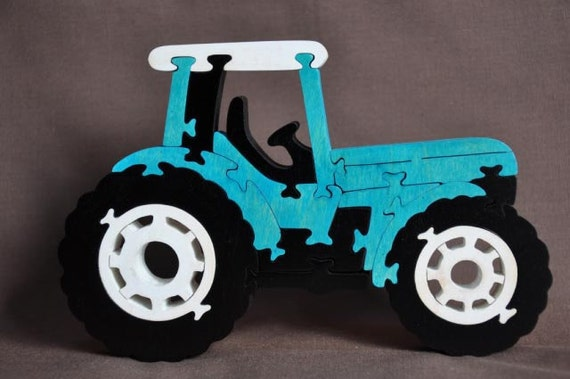 Blue  Farm Tractor Wooden Toy Puzzle Hand Cut