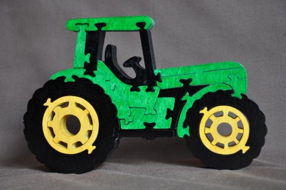 Green  Cab Over Farm Tractor Wooden Toy Puzzle Hand Cut