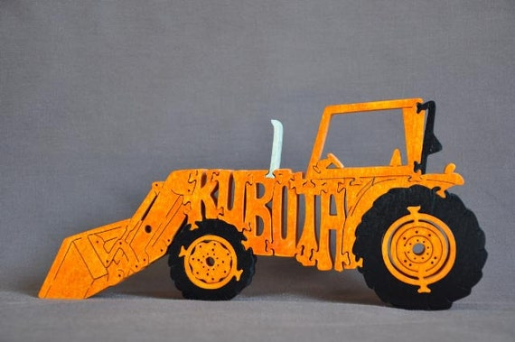 Orange Kubota  Farm Tractor Wooden Toy Puzzle Hand Cut