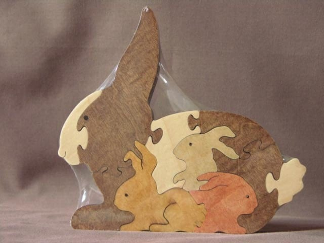 bunny with babies easter animal puzzle wooden toy hand cut. Black Bedroom Furniture Sets. Home Design Ideas