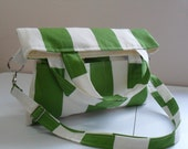 Essential Carry All Bag with Convertible Strap in Nautical Green and White Canvas  Fabric