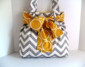 Chevron Bag in Gray and White with Yellow Bow - fromnancy