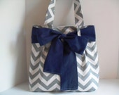 Handbag Made of Chevron  Fabric and Large Navy Blue Bow
