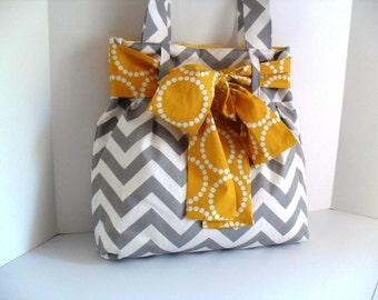 Diaper Bag - Yellow Bow - Chevron Diaper Bag - Tote Bag