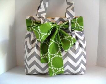 Chevron Diaper Bag - Green Bow - Diaper Bag - Tote Bag