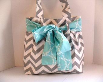 Chevron Diaper Bag Gray and White Fabric with Large Aqua Bow - Tote Bag - Diaper Bag - Bow Bag - Bow Diaper Bag - Chevron Bag