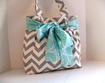 Diaper Bag - Bridesmaid Gift - Project Bag - Aqua Bow