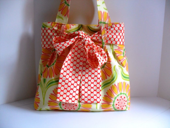 Large Bow Handbag Made In Heather Bailey  Fabric