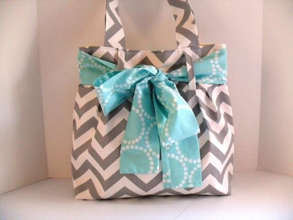 Chevron Diaper Bag - Aqua Bow - Project Bag - Bow Bag - Tote Bag - Bow Diaper Bag