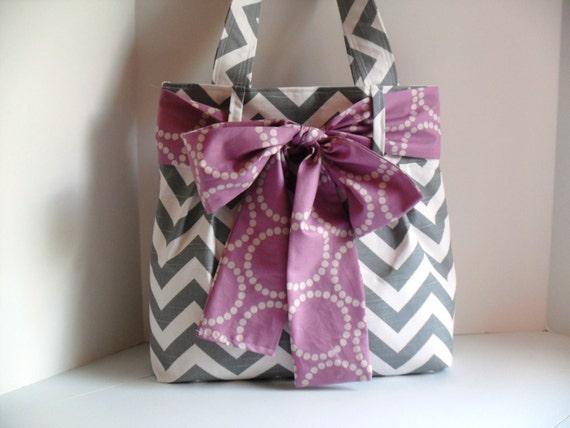 Bow Diaper Bag - Diaper Bag - Chevron Bag - Purple Bow - Tote Bag - Project Bag