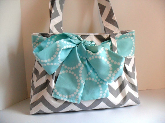Small Diaper Bag Made of Chevron  Fabric and Aqua Bow - Tote Bag - Bow Bag - Diaper Bag - Bow Diaper Bag - Chevron Diaper Bag - Chevron Bag