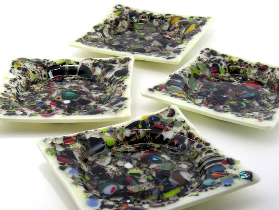 Art Glass Coasters / Stackable Fused Glass Coasters - Chaos