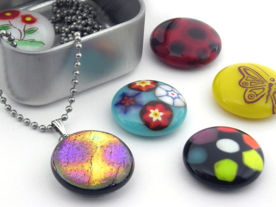 Interchangeable Magnetic Necklace Set / Fused Glass Jewelry / Art Glass Pendants / Magnet Necklace