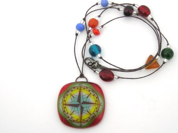 Fused Glass Jewelry / Fused Glass Necklace / Fused Glass Pendant - Compass Rose