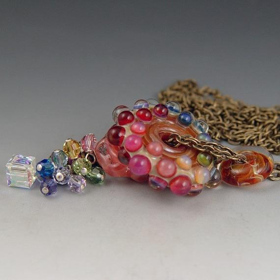 Reserved listing for yummiesmummy...Rainbow Gems, 1 lampwork boro beads, brass chain, Swarovski crystal, Redside designs, jewelry