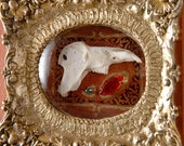 His Time was Brief, Modern Relic (with rodent jaw bone in golden frame)