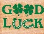 Good luck text symbols rubber stamp