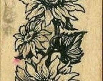 sunflower border rubber stamp