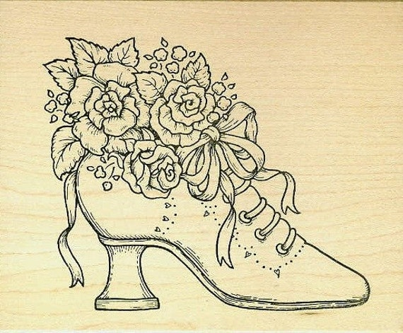 Victorian wedding shoe rubber stamp for Wedding dress rubber stamp