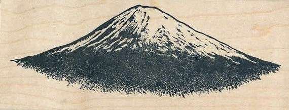HUGE mountain volcano rubber stamp