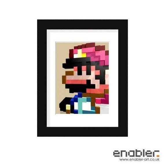 Mario 3D Mosaic (Framed)