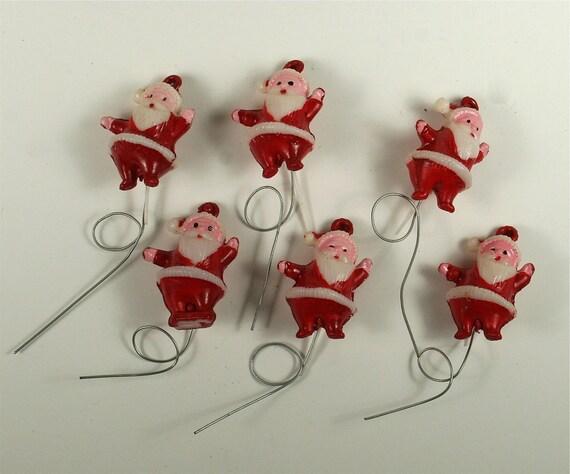 Six Vintage Hand-Painted Santa Claus Craft Picks