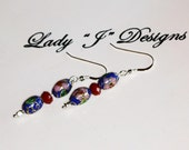 Blue Cloisonne and Chocolate Crystal Beaded Dangle Earrings
