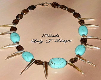 Large Turquoise Beads Natural Shell Points Brown Bronzite Beaded Necklace