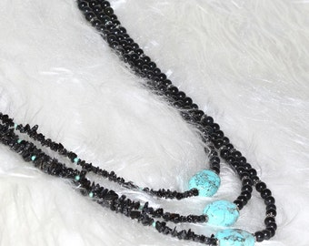 Triple Strand Beaded Necklace Turquoise Black Tourmaline and Blackstone Handmade