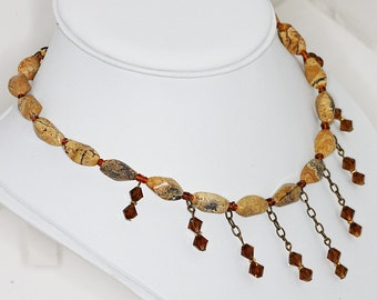 Brown Beaded Choker Necklace with Crystal Drops Jasper Gemstone