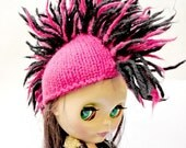 Mini Mohawk Cap For Blythe - Hot Pink and Black