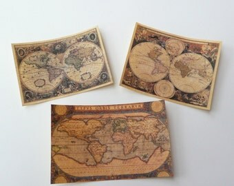 Miniature Dollhouse Terrestrial Maps