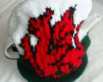 Hand Knitted Welsh Flag Tea Cosy