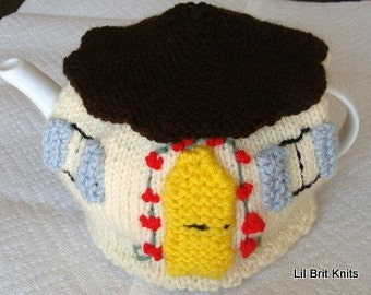 Knitted English Cottage Teapot Cozy
