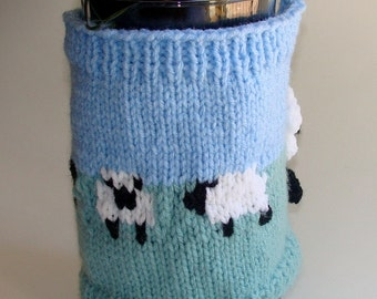 French Press Cozy Cafetiere Cosy Hand Knitted with Field of Sheep for 8 cup french press