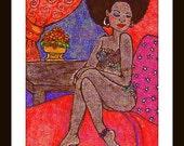 Afrocentric Art, Original Art,Black Woman Art,Art Gifts