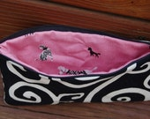 Black swirls and pink poodles pouch