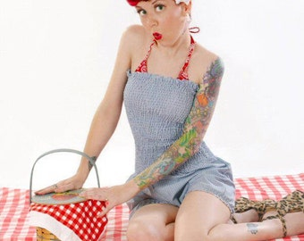 Dorothy Romper  , Blue Gingham - jumpsuit , Playsuit ,  Binikin cover up , sun suit ,