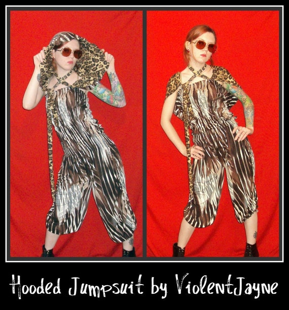 hooded sleeveless  leopard Jumpsuit , romper , playsuit , Cape