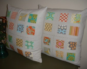 Set of Two Linen Patchwork 16 inch Pillow Covers made with Amy Butler Fabrics