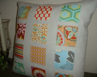 """Linen Patchwork Applique - 14"""" Pillow Cover made with Amy Butler Fabrics"""