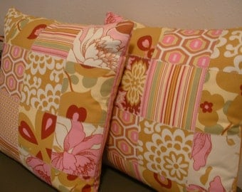 Set of Two Patchwork 16 inch Pillow Covers made with Amy Butler Fabrics