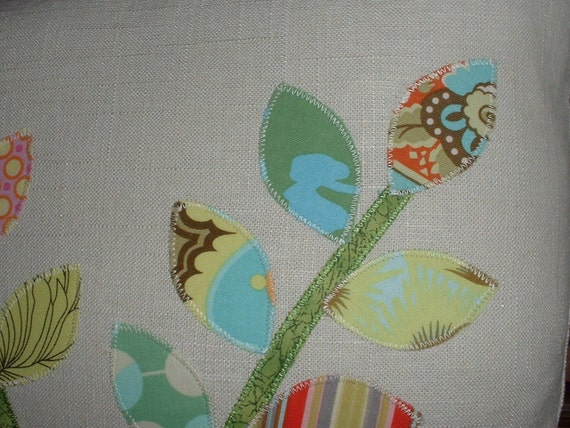 Set of TWO Linen Patchwork 16 inch Pillow Covers